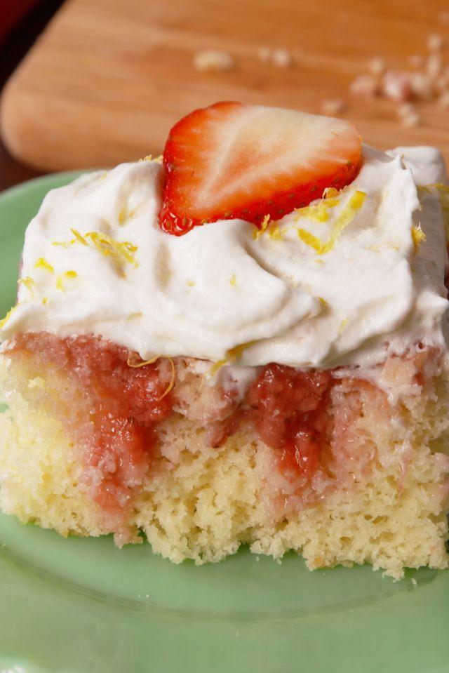 Strawberries 'N Cream Poke Cake