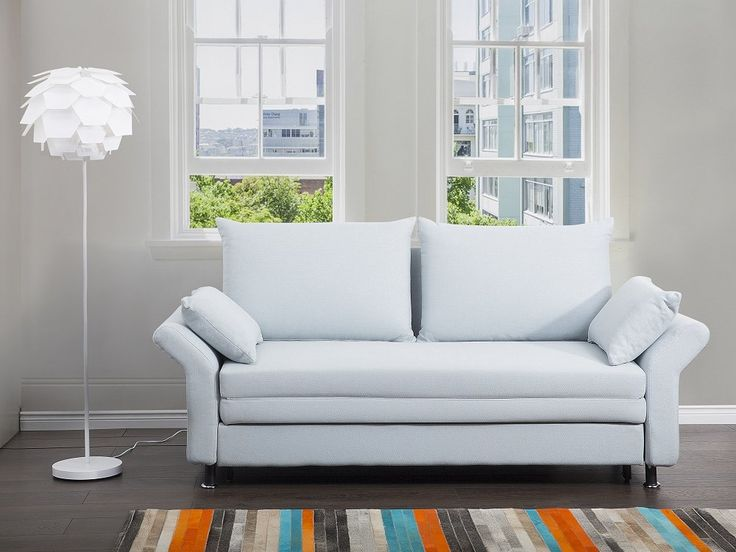 In a Scandinavian style - a multifunctional reclining sofa bed EXETER in a light blue colour with comfortable cushions. Check Beliani UK for more design inspirations www.beliani.co.uk! #beliani #moderninteriorsdesign #sofabeds #sofa #bedroom #livingroomideas #couch #sofabed