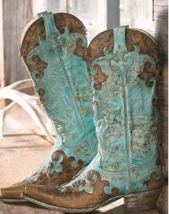 Beautiful cowgirl boots - love the turquoise color - go just about anywhere in these!