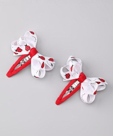 Take a look at this Red Ladybug Snap Clip Set by Monkey Loves Bownanas on #zulily today!