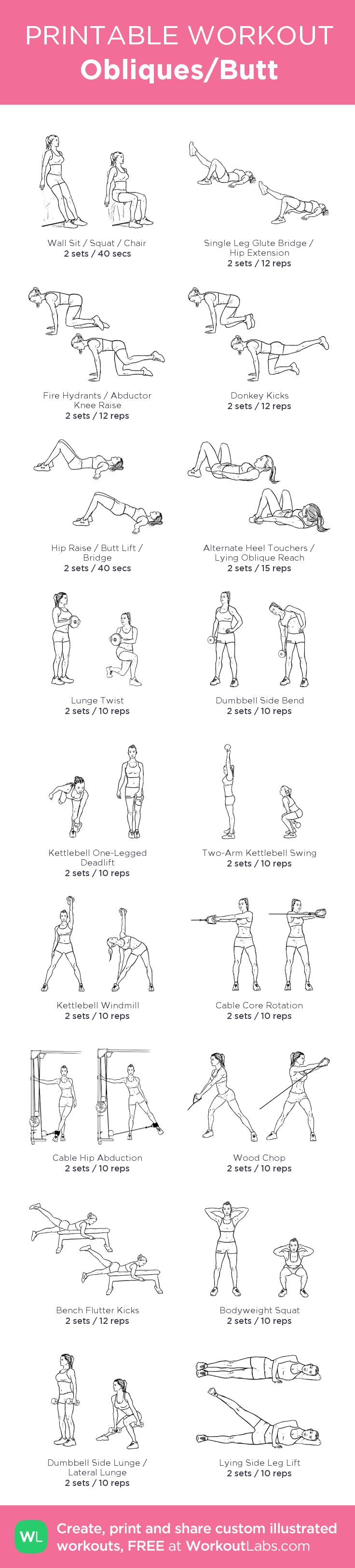 Obliques/Butt: my visual workout created at WorkoutLabs.com • Click through to customize and download as a FREE PDF! #customworkout