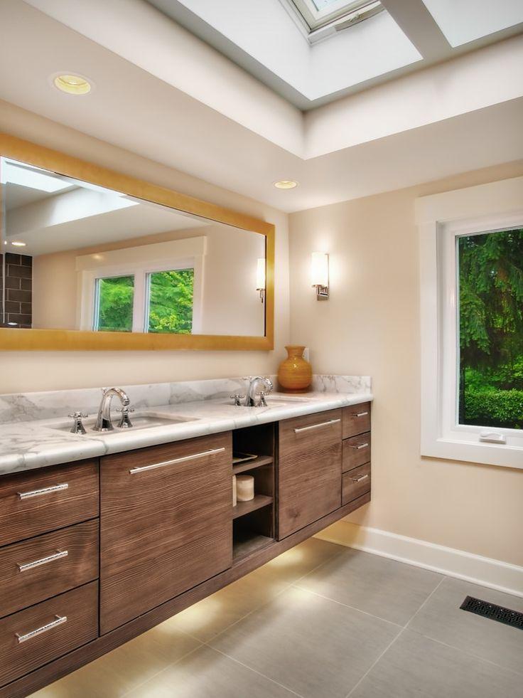 #modern #bathroom #vanity #brown #colors  #horizontal #mirror  #Interior #Design  #Furniture  #Residential #Founterior