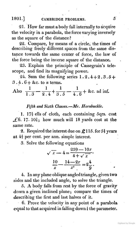 A Sample Of Cambridge Math Problems, 1801 New Cambridge Guide; Or, A