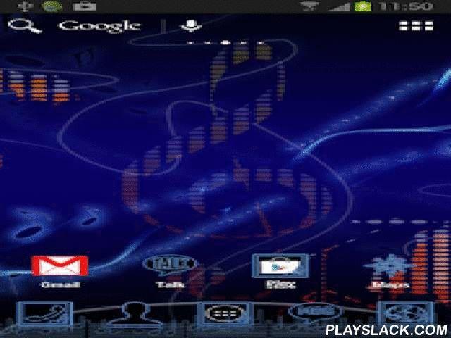 Music Theme For ADW Launcher  Android App - playslack.com ,  Aanvraag voor Muziek ADW Launcher 's . Wallpaper is een g-sleutel en muzieknoten op een blauwe achtergrond . Achtergrond van het hoofdmenu applicatie ook sleutel . Elk pictogram heeft een tegel achtergrond lijkt op neon blauw . Grote iconen zijn vervangen door zwarte en blauwe die eruit ziet als neonverlichting . Als je van deze stijl , je wilt zijn modern , net als de muziek van elk genre deze app is voor jou . Dit product is…