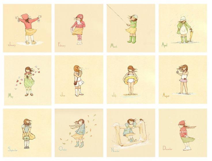 Kinder Wand-Kunstdrucke  ihr Monat für Monat-SET 12  8x8s