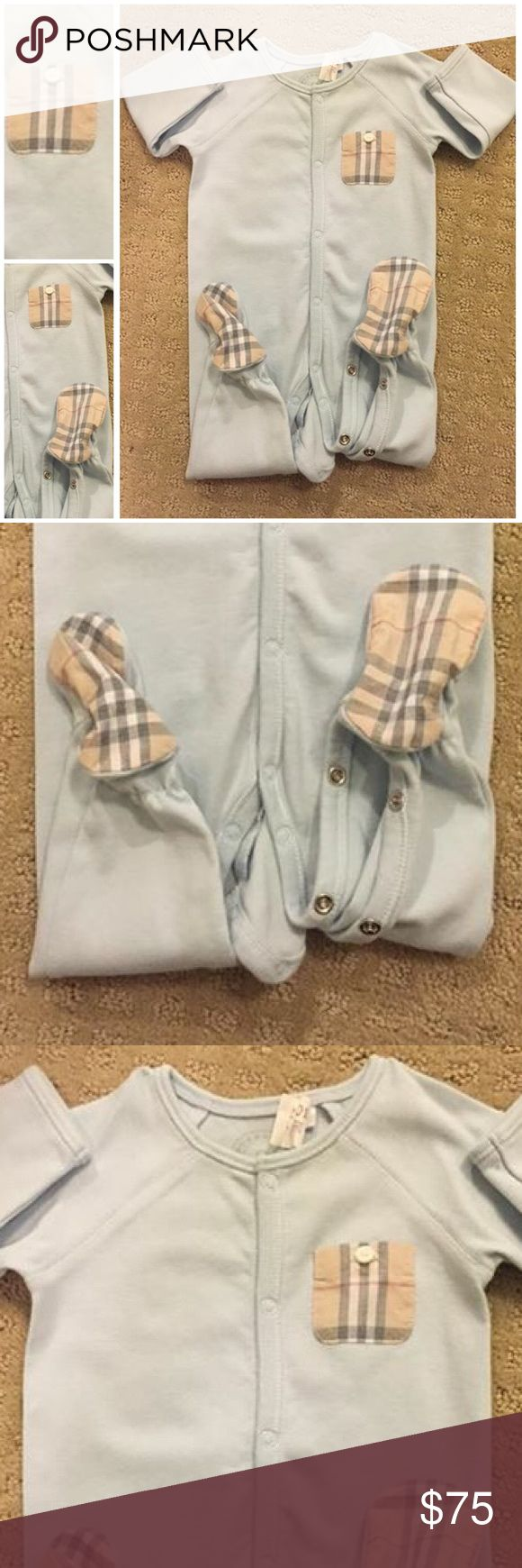 👶🏻 Burberry Footie 👶🏻 This Burberry footie was worn once for only a few hours. Very light blue in color. It was never spit up on. No potty accidents. I never washed it. Only dry cleaned once after it was worn. It was $125 brand new at Neiman Marcus North Park Dallas, Tx. Pet free, Smoke free. Open to reasonable offers and/or bundle discounts. ❤️X for your VIP baby. 👶🏼 Burberry One Pieces Footies