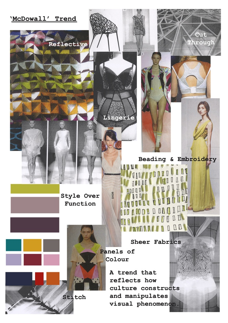 Trend board for this project, how it should feel. Images are from many sources including my own drawings, fashion forecasting magazine - Textile View and designers including Alice Temperley.