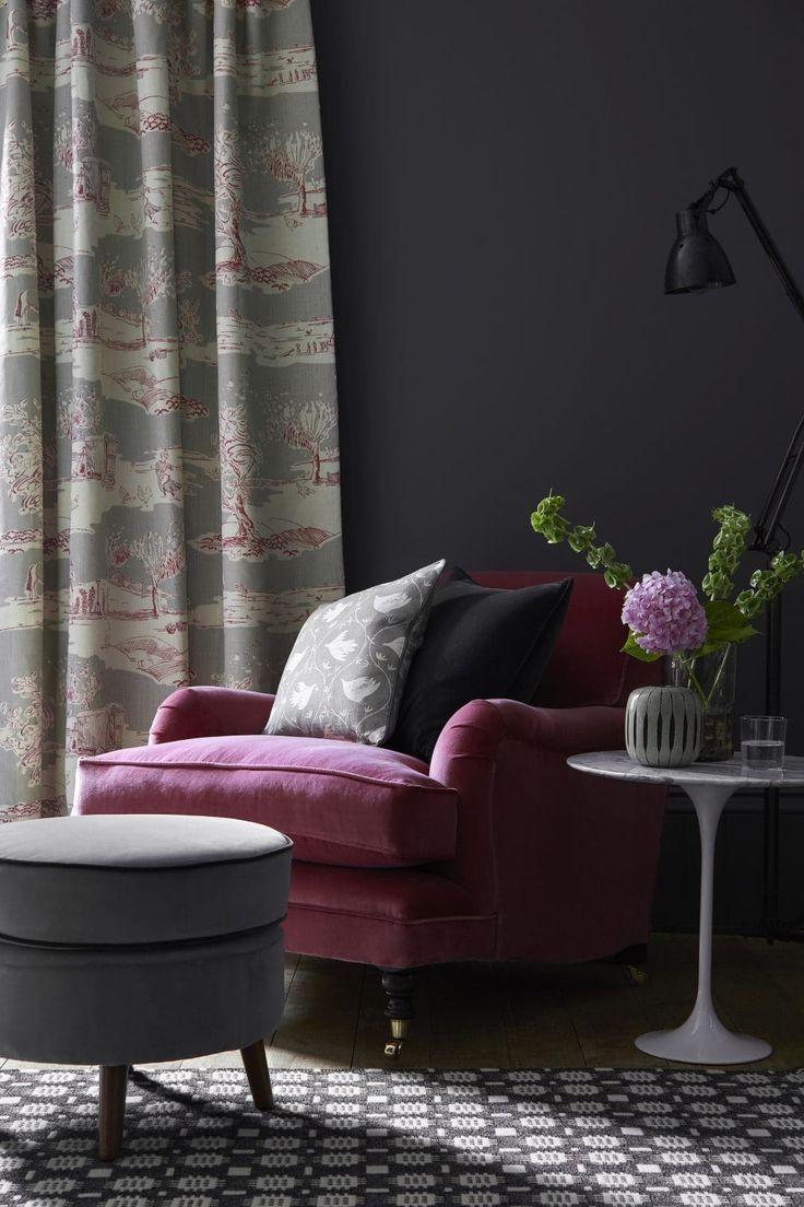 Rich Velvet Sofa And Interiors Ideas From Vanessa Arbuthnott Charcoal Living Rooms Pink Velvet Chair Home Decor