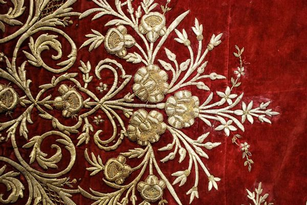 Antique Ottoman gold thread embroidered large panel on burgundy.