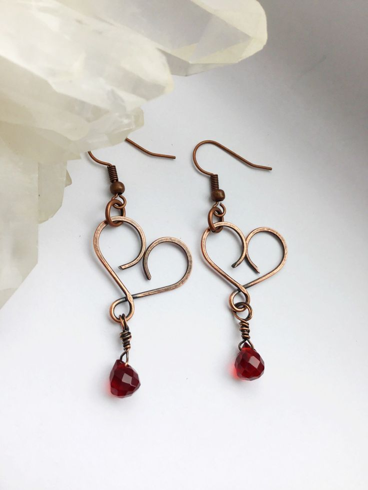 Image of Hammered Copper Heart Dangle and Drop Briolette Earrings
