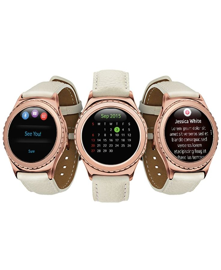 Samsung Unisex Gear S2 18k Rose Gold-Plated Classic Ivory Leather Strap Smartwatch 40mm Sm-R7320ZDAXAR