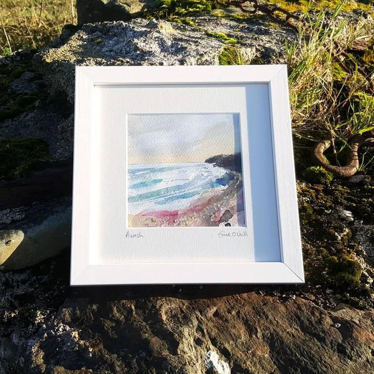 'Awash' is an acrylic & mixed media Irish Seascape with touches of 24ct gold leaf. Painted on 5x5* 300gsm cold pressed watercolour paper, which has been mounted in a 8x8* handmade frame. *approx measurements. €65 P&P I use my contemporary Irish art to connect my sea loving customer