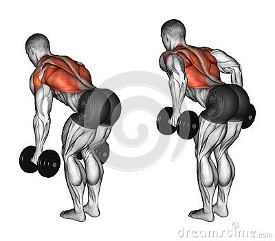 Exercising. Thrust dumbbells in the slope