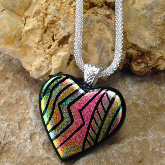 Heart Pendant Dichroic Fused Glass Hand Etched  by GlassCat, $35.00