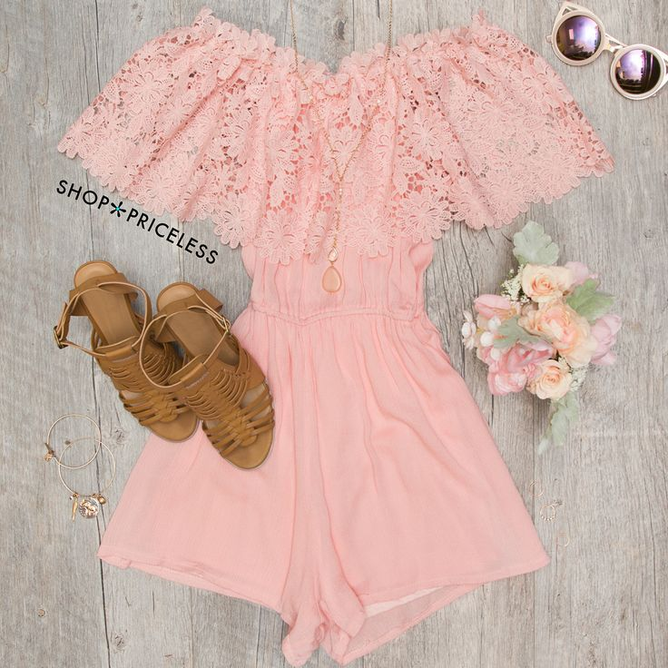 - Details - Size Guide - Model Stats - Contact Look fresh as a daisy in this Peony Lace Romper in blush! Features a lightweight, crochet, lace and chiffon-knit fabric with minimal stretch. Straight ne