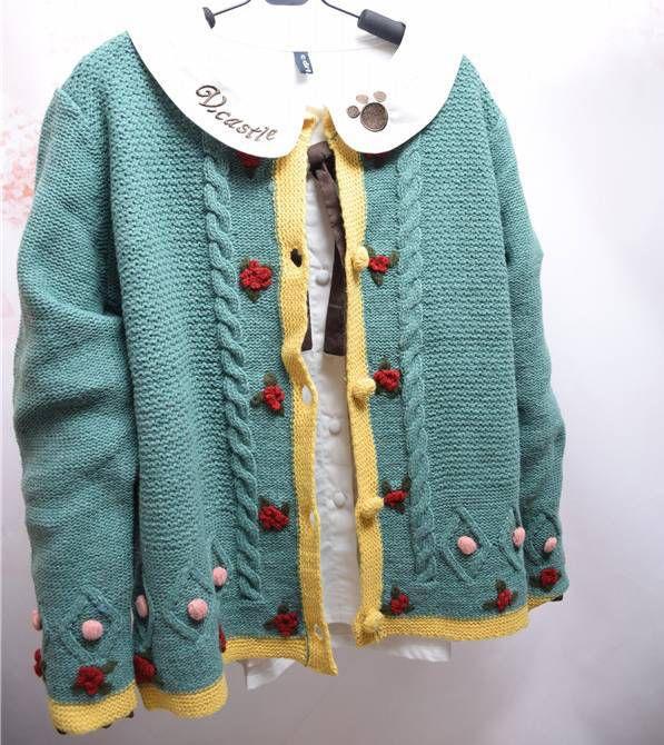 3D цветы шар зеркальный яркий цвет блока стежка кардиган витая свитер мори девушка