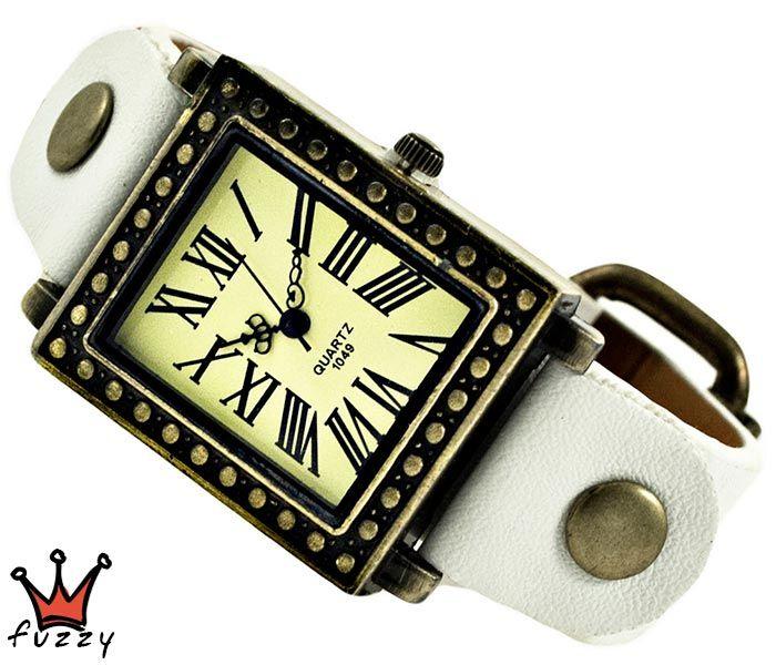 Γυναικείο τετράγωνο vintage ρολόι, σε μπρονζέ και εκρού.