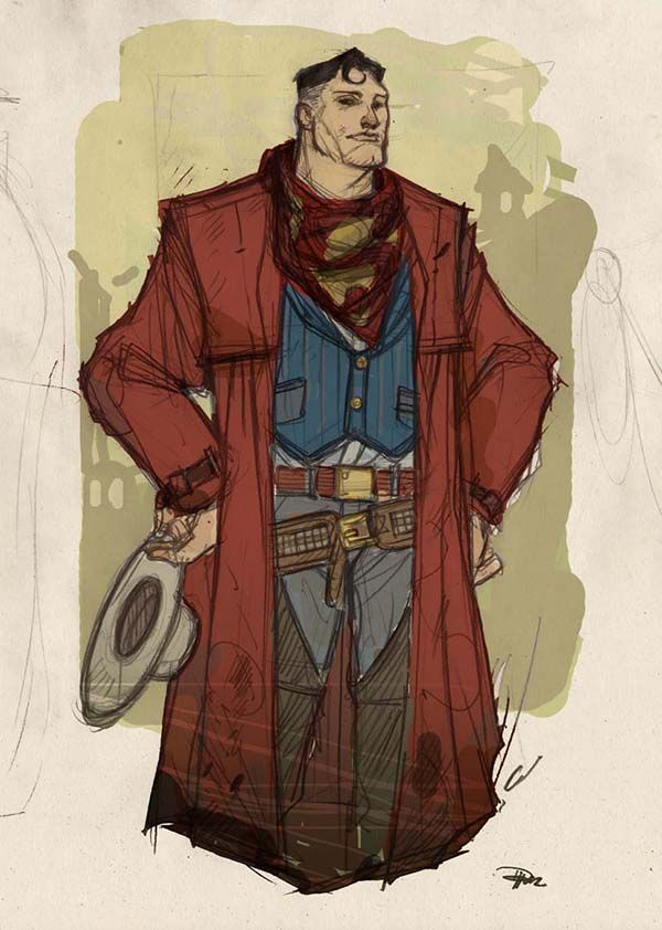 The Justice League Characters As Wild West Cowboys