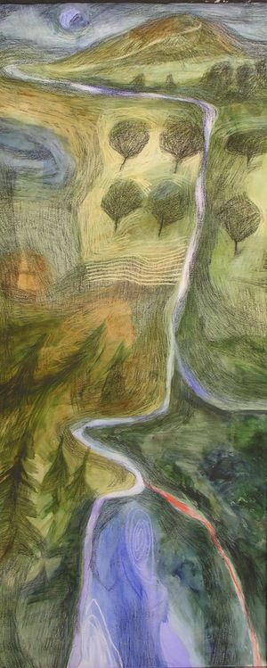 """""""Lawr Y Dyffyrn - Afon Y Gallon I (Down the Valley - River of the Heart I)"""" by Eleri Mills (paint, charcoal and pastel on paper)"""