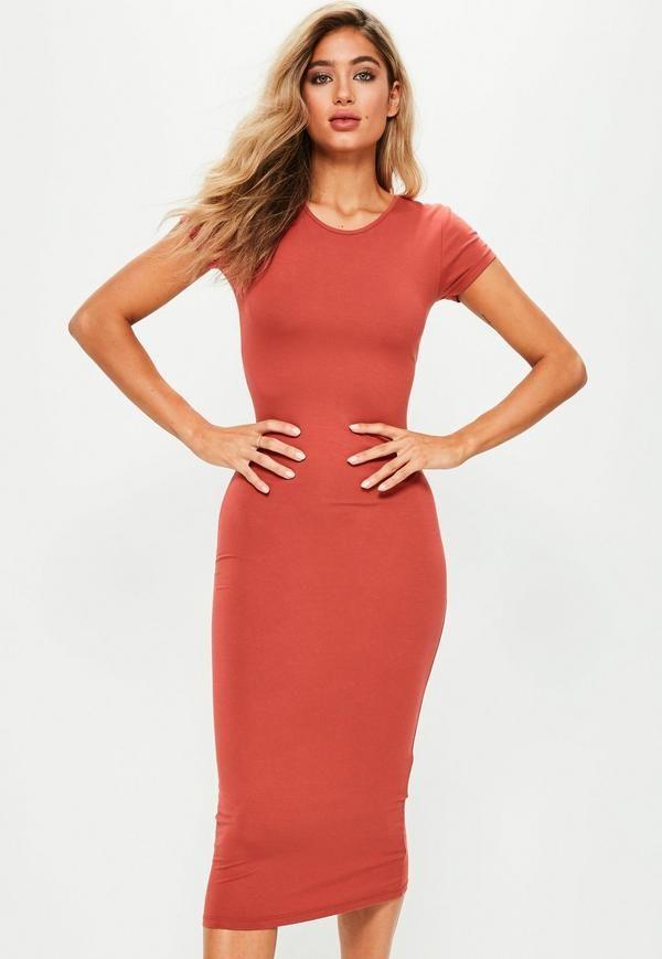 Orange Short Sleeve Midi Dress