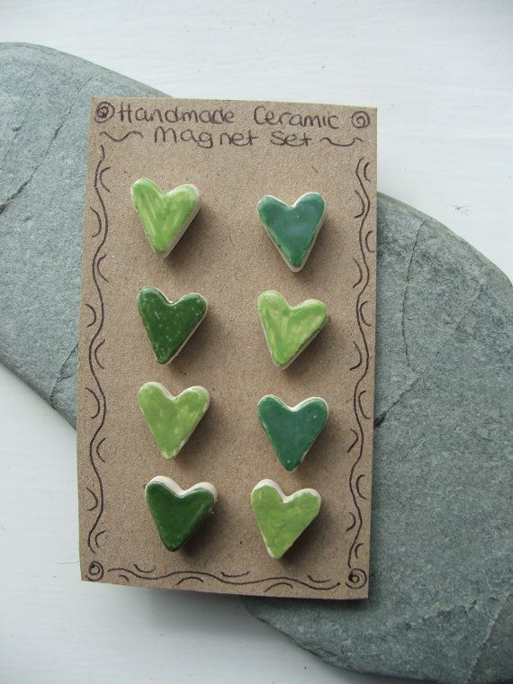 Ceramic Pottery Heart Magnet Set - Set of eight - Green This set has now been sold but similar sets can be made to order via my Etsy store.