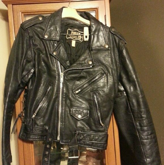 Mens Leather Motorcycle Coat This leather coat has been worn but is broke in and very comfortable. First Genuine Leather Jackets & Coats