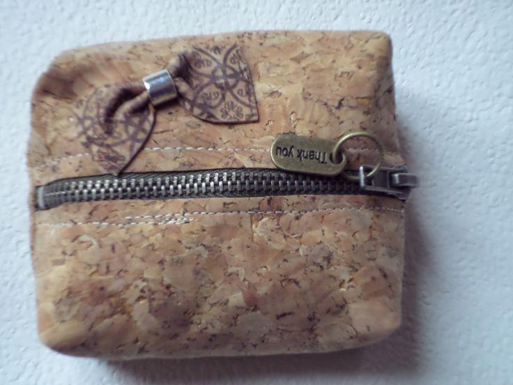 Porta moedas de cortiça com ziper