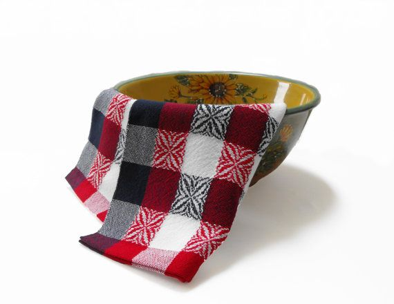 Red White and Blue Tea Towel Hand Woven Kitchen Tea by WovenBeauty