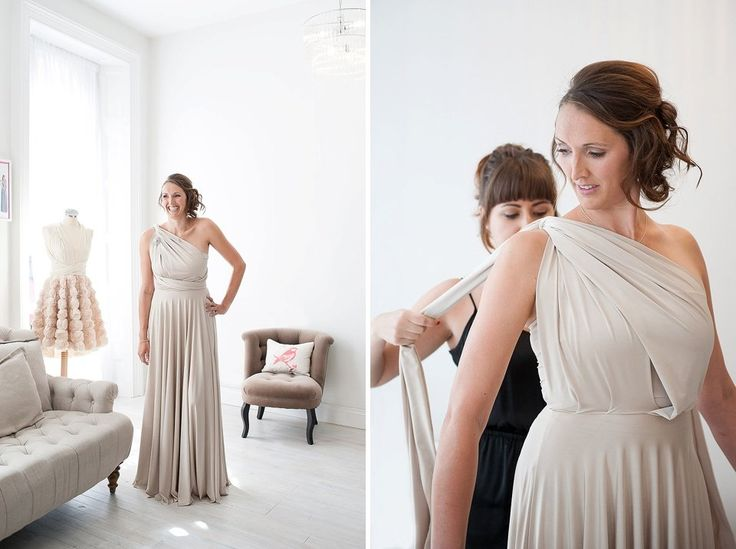 Grey one shoulder bridesmaid dress by Two Birds and their top tips on how to choose your bridesmaids dresses. © Fiona Kelly Photography