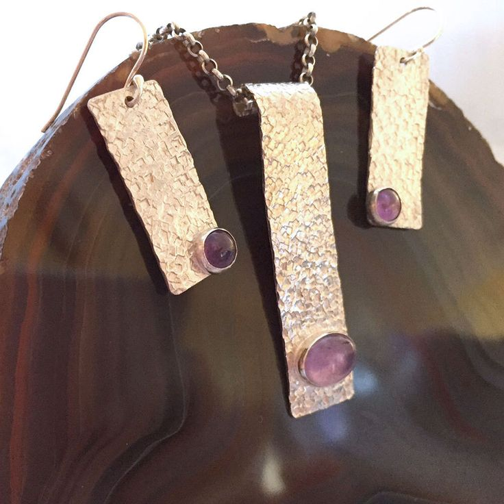Squares with Amethysts - Pendant and Earring Set by TLHinspired on Etsy https://www.etsy.com/au/listing/277540020/squares-with-amethysts-pendant-and