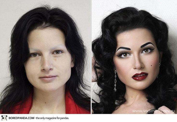 """O artista russo Vadim Andreev resolveu mostrar que para criar uma aparência digna de capa de revista não é preciso usar edição de fotos, apenas maquiagem. Ele fez um """"antes e depois"""" em que várias mulheres aparecem com e sem os produtos de beleza. Em muitos casos é difícil imaginar que são a mesma pessoa."""