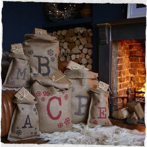 Christmas Sack Personalised - A traditional hessian sack screen printed with an initial of your choice surrounded by snowflakes.
