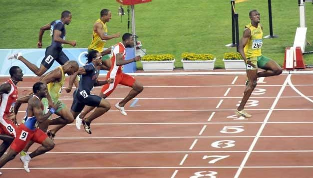 Usain Bolt breaking the 100m world and Olympic records, Beijing 2008