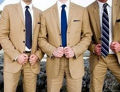 5 Camel Suits with Navy ties