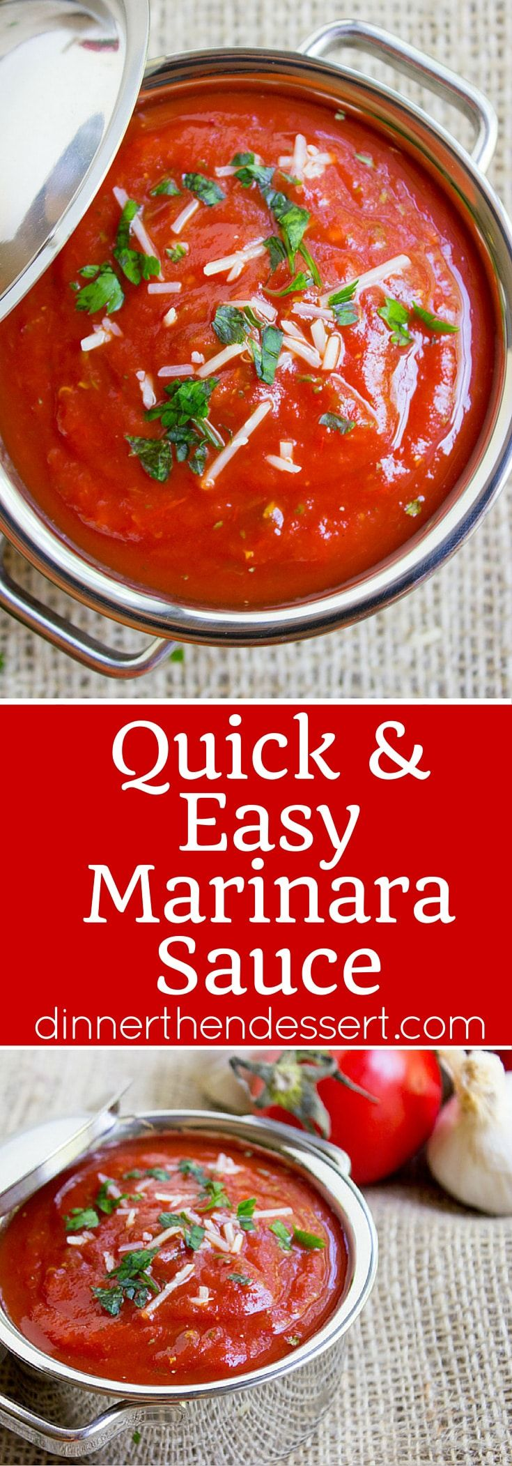 Quick and Easy Marinara Sauce, perfect for your favorite Italian meal. Done in as little as 15 minutes but perfect in 40. Five different add in options for more flavors!