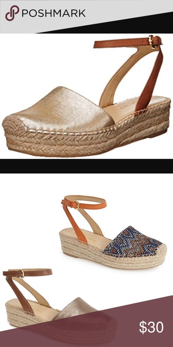 Franco Sarto Metallic Espadrilles Franco Sarto Metallic Espadrille Platform Sandals w Brown Leather Ankle Strap Franco Sarto Shoes Espadrilles