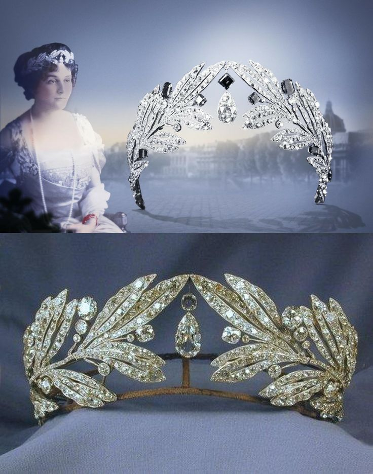 1907 Diadem by Cartier Paris, for her marriage to Prince George of Greece and Denmark, Princess Marie Bonaparte ordered this diadem from Cartier, composed of olive leaves in diamonds and emeralds/all diamond version.