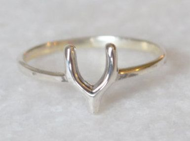 Wishbone Midi Stacking Ring in Sterling Silver by ShopZYLA