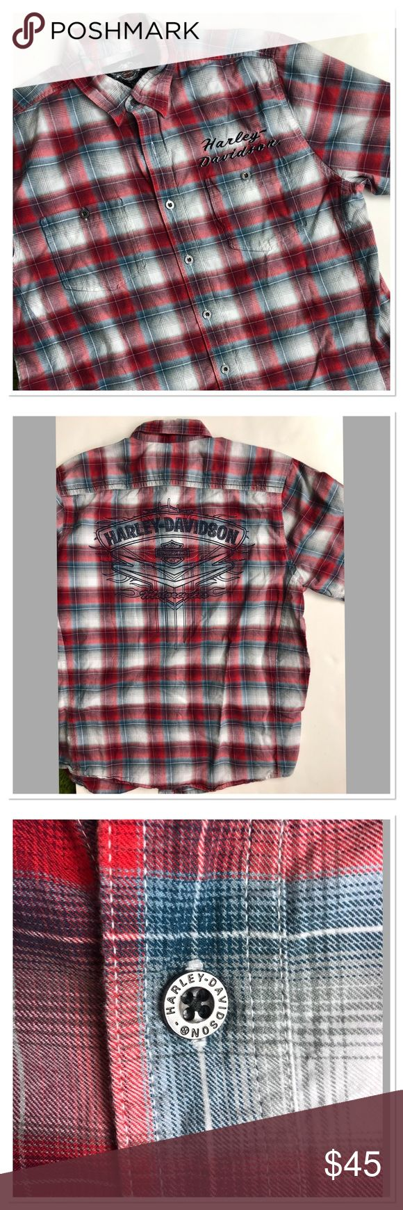 """Harley Davidson Plaid cotton button down shirt Harley Davidson Genuine Motor clothes cotton button down shirt with short sleeves. Featuring front buttons closure, embroidered logo on the left side of the chest, motorcycle logo on the right side of the shirt. Big square embroidery on the back. Black and red white and blue plaid colors. Very good pre owned condition, no flaws. Size L. Pit to pit 22"""" length 29"""" Harley-Davidson Shirts Casual Button Down Shirts"""