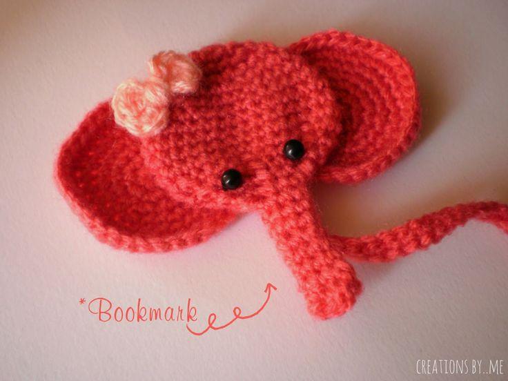 Creations by..me: Crochet elephant bookmark..free pattern! ༺✿ƬⱤღ  https://www.pinterest.com/teretegui/✿༻