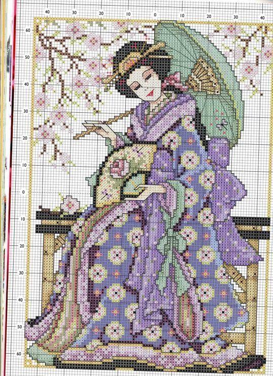 point de croix femme geisha , cross stitch woman geisha japanese 2