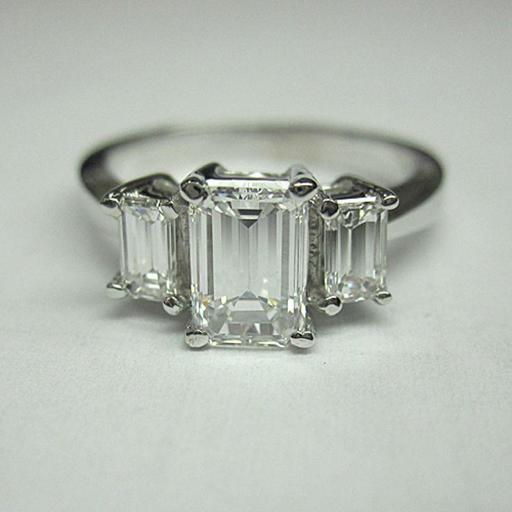 GIA Certified 3 Stone Diamond Engagement Ring 2.20 Carat Emerald Cut in 18k WG