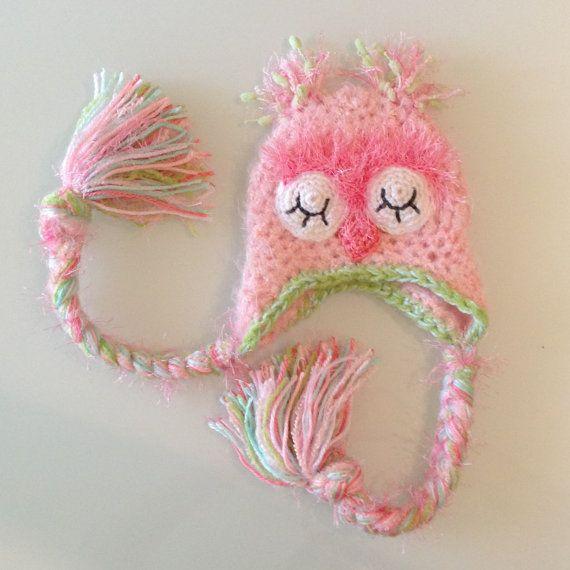 Pastel Sleepy Pink Owl Hat, Photo Prop, Newborn Photo Prop, Pink Owl Hat, Baby Girl, Crochet, Hat, Pink, Green, Fuzzy on Etsy, $29.00