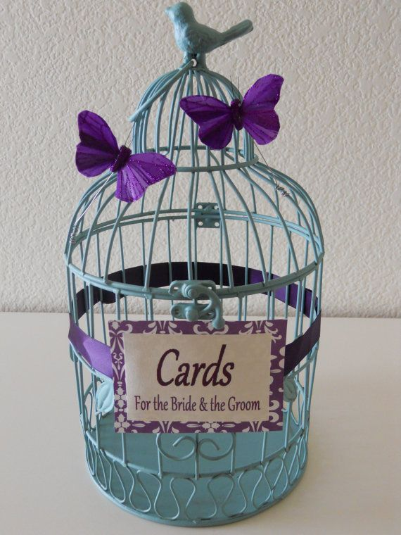 Definitely purchasing this Blue Rustic Wedding Birdcage Wedding Card by LKWeddingBouquet, $45.00