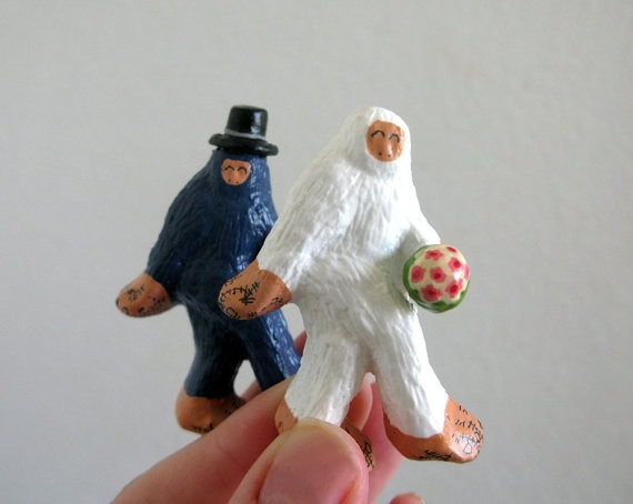 Bigfoot and Abominable Snowman wedding cake toppers!