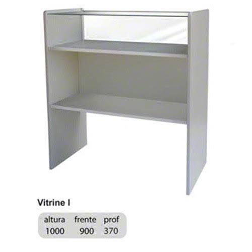 Medidas do balcão Vitrine I: 1.00 m de altura x 0.90 m de largura x 0.37 m de profundidade.