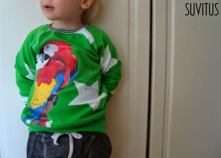 Handpainted Parrot-shirt By Suvitus