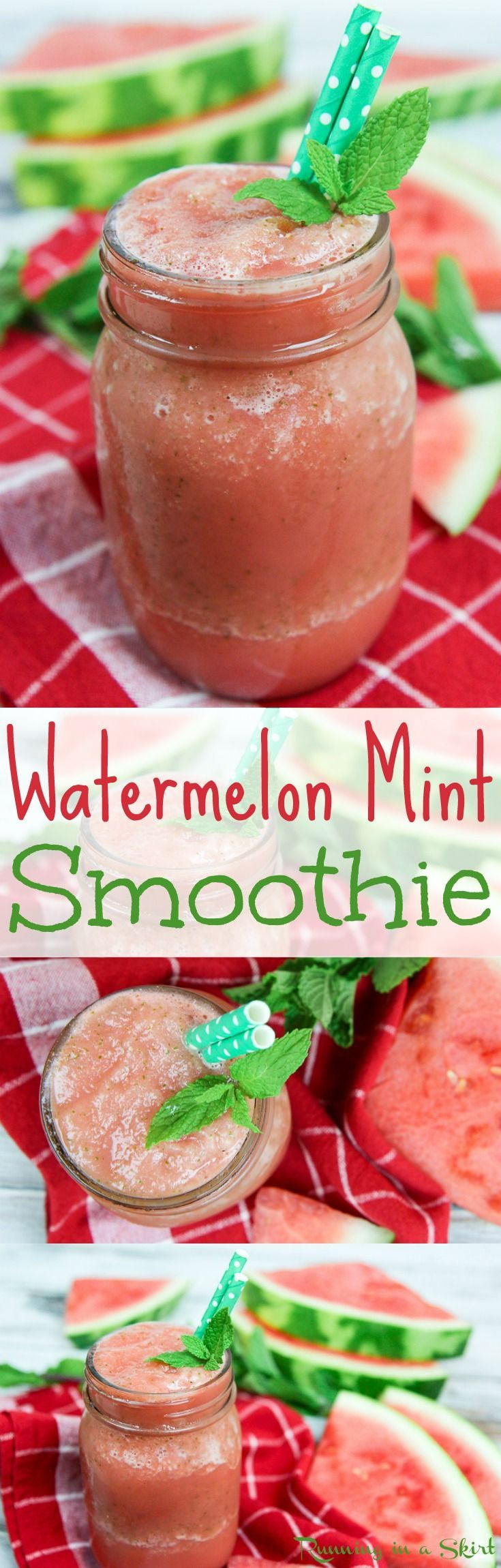 Healthy Watermelon Mint Smoothie recipe! A hydrating and refreshing idea for summer drinks. An easy, simple, vegan, gluten free, and clean eating watermelon smoothie drink. Perfect for summer mornings, snacks or after working out! / Running in a Skirt