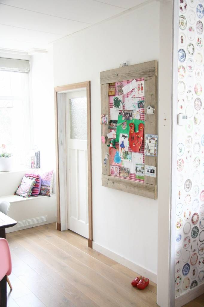 Label123 Prikbord steigerhout middel (M) 80x120cm, roze