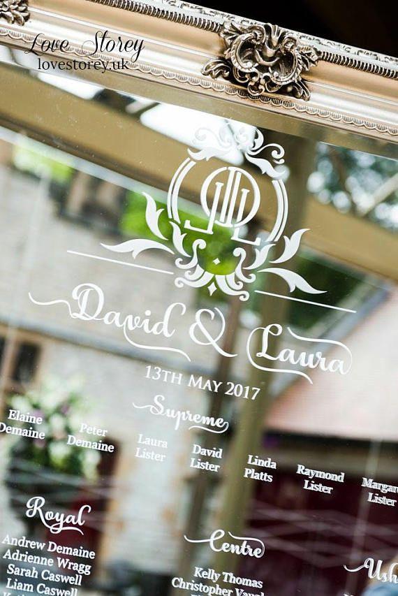 Full Length Mirror Wedding Table Plan Vinyl Lettering